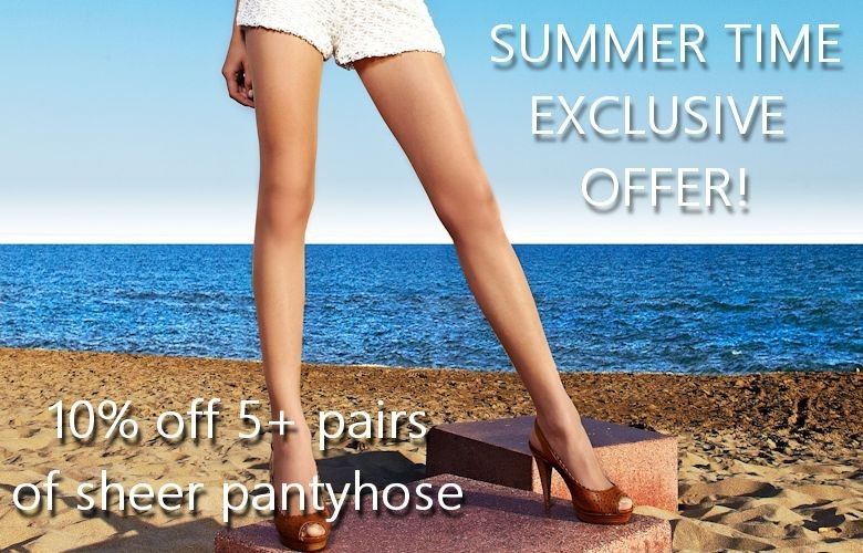 10% off 5+ pairs of sheer pantyhose